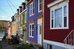 Typical st. john's downtown street and houses Stock Photos