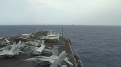 USS Nimitz Replenishment at Sea Alongside USNS Rainier Stock Footage