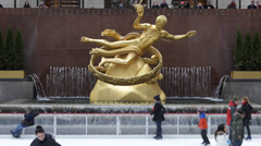 The Ice Rink Historic Landmark Rockefeller Center New York City Winter December Stock Footage