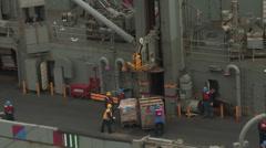 USS Nimitz Replenishment at Sea Alongside USNS Rainier Stock Footage