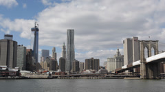 Establishing Shot New York City Skyline Brooklyn Bridge One World Trade Center Stock Footage