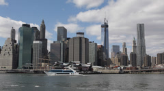 New York City Downtown Cityscape One World Trade Center Company NYC Waterfront - stock footage