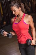Bicep Curl Fitness Woman Stock Photos