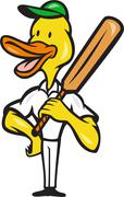 Stock Illustration of duck cricket player batsman standing