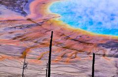 grand prismatic geyser from above - stock photo
