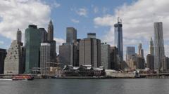 New York City Manhattan Skyline One World Trade Center Big Apple Background Day Stock Footage