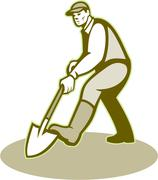 Stock Illustration of gardener landscaper digging shovel retro