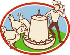 chicken farmer feeder cartoon - stock illustration