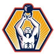 crossift athlete lifting kettlebell front retro - stock illustration