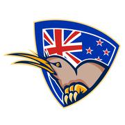 Kiwi bird new zealand flag shield retro Stock Illustration