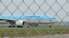Korean Airlines commercial jet. - stock footage