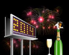 billboard advertising new year 2014. - stock illustration