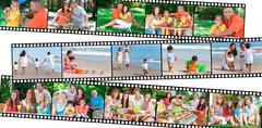 Happy family parents & children healthy eating lifestyle Stock Illustration