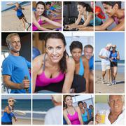 Healthy men women people lifestyle & exercise Stock Illustration