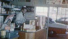 Gas Station COUNTER ATTENDANT Auto Repair 1960 Vintage Film Home Movie 7264 Stock Footage