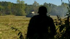 Russian tank attacks Germans Stock Footage