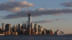 Manhattan Skyline One World Trade Center Hudson River New York City Cruise Ship Stock Footage