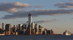 Manhattan Skyline One World Trade Center Hudson River New York City Cruise Ship - stock footage