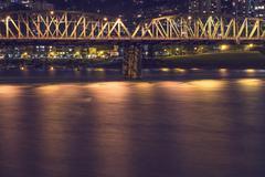 Portland bridge at night Stock Photos