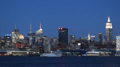 Illuminated Night View of New York City Manhattan Midtown Lights Dusk Blue Hour Stock Footage