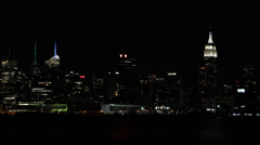 Light Turn Off Shut Down Earth Hour New York City Skyline Empire State Building Stock Footage