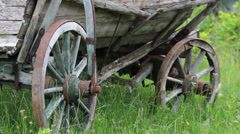 Focus on old wooden cart wheels rest on fresh new grass Stock Footage