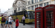 Ultra HD 4K London British Red Telephone Box Busy Car Traffic People Walking Stock Footage
