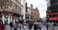 Ultra HD 4K UHD People Walk Enjoy Shopping Street Leicester Square London Casino Stock Footage
