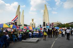 bangkok - november 11 : the democrats are on the march at democracy monument, - stock photo