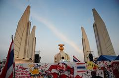 bangkok - november 11 : the democrats are on the march at democracy monument - stock photo