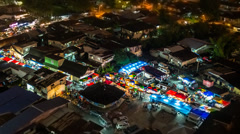Timelapse Night Market Zoom Out, 720p Stock Footage