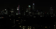 Ultra HD 4K Night Aerial View London Skyline Skyscrapers Financial District - stock footage