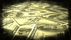Vintage Money Fly Over Non Looping Stock Footage