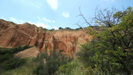 Stock Video Footage of Nature landscape, blue sky, red rocks ravine canyon and green trees