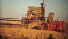 Old Combines Harvesting Fields-1940 Vintage 8mm film - stock footage