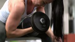 Intense muscle building - stock footage