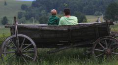 Baby son and young father admire green nature, sit in traditional wooden cart - stock footage
