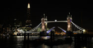 Ultra HD 4K Iconic Tower Bridge Open Up lifted Raised Shard London Thames River Stock Footage