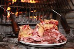 tray with raw meat ready to be cooked on the fire of the fireplace - stock photo