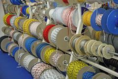 ropes and cables and cords for boating and climbing for sale in rolls - stock photo