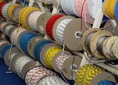 Ropes and cables and cords for boating sailing and climbing for sale in rolls Stock Photos