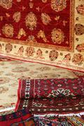 Textures and background of handmade carpets and rugs Stock Photos