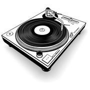 Musta DJ Gramophone Piirros