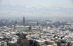 beautiful view of the city of vicenza after an abundant snowfall in winter - stock photo
