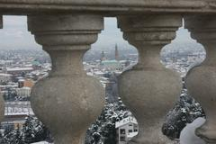 Basilica palladiana of vicenza after an abundant snowfall seen from the balus Stock Photos