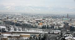 Beautiful view of the city of vicenza after an abundant snowfall Stock Photos