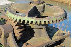 industrial gear for lifting and lowering of the bulkheads of a water channel - stock photo
