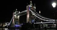 Ultra HD 4K Illuminated Night Public Lamp Tower Bridge London Skyline Shard UK Stock Footage
