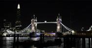 Ultra HD 4K Nightfall Lights Famous Tower Bridge Shard London UK Ships Boats Stock Footage