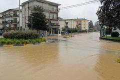 roads and streets of the city submerged by the mud of the flood after the flo - stock photo